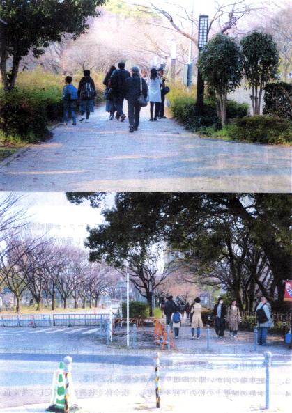 地下鉄市役所駅から東門への遊歩道と名古屋城東門駐車場から地下鉄市役所方面を望む